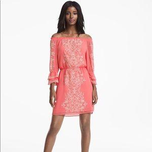 WHBM Coral Off Shoulder Embroidered Boho Dress